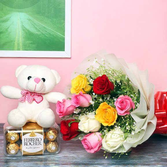 10 mixed colored roses teddy n box of 16 ferrero rocher chocolates