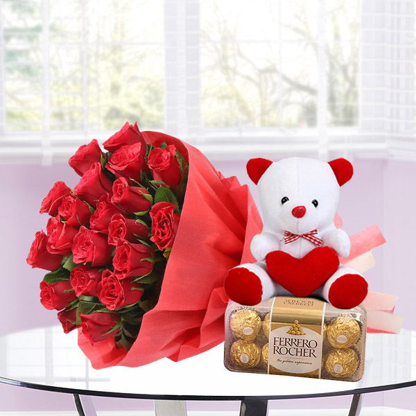 20 red roses 16 ferrero rocher chocolate teddy bear
