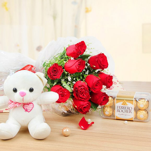 10 red colored roses teddy n box of 16 ferrero rocher chocolates