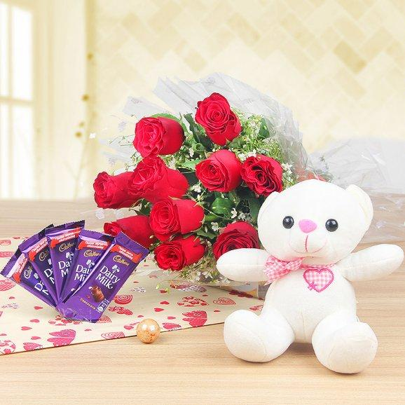 10 red colored roses teddy n 5 chocolates