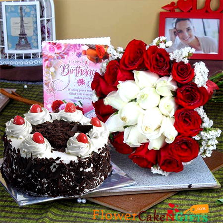 1 kg eggless black forest cake along with 20 mix red and white roses greeting card