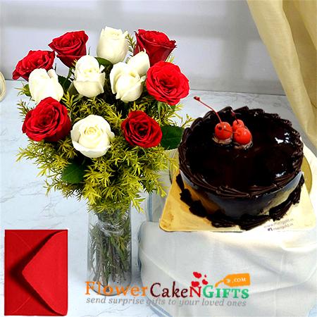 half kg eggless dark chocolate truffle cake with 12 red white roses vase