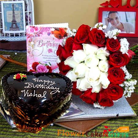 half kg eggless chocolate cake heart shape along with 20 mix red and white roses greeting card