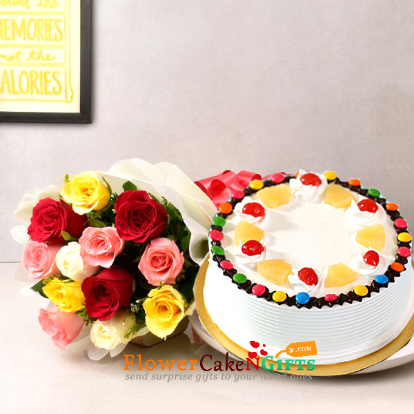 half kg pineapple gems cake and 10 mix roses bouquet