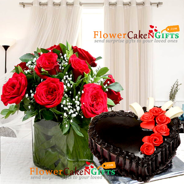 half kg eggless heart shape chocolate cake with vase of 10 red roses