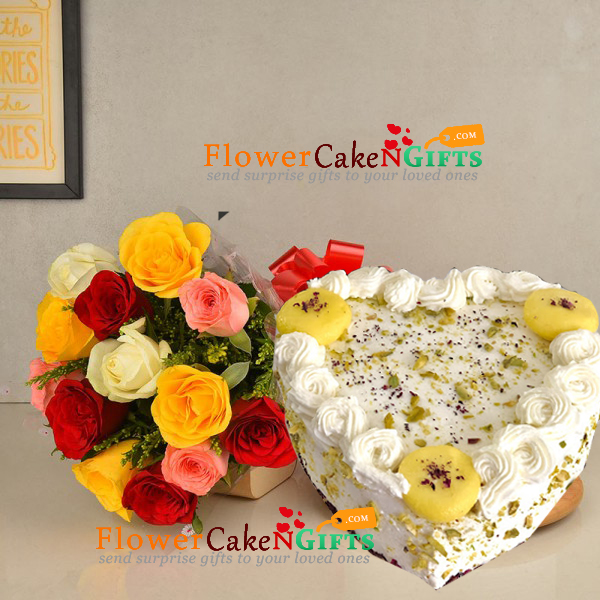 half kg eggless heart shape rasmalai cake and 10 roses bouquet