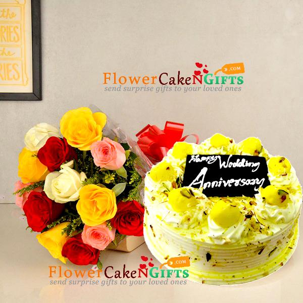 half kg eggless rasmalai cake and 10 roses bouquet