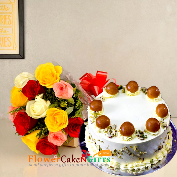 half kg eggless gulab jamun cake and 10 mix roses bouquet